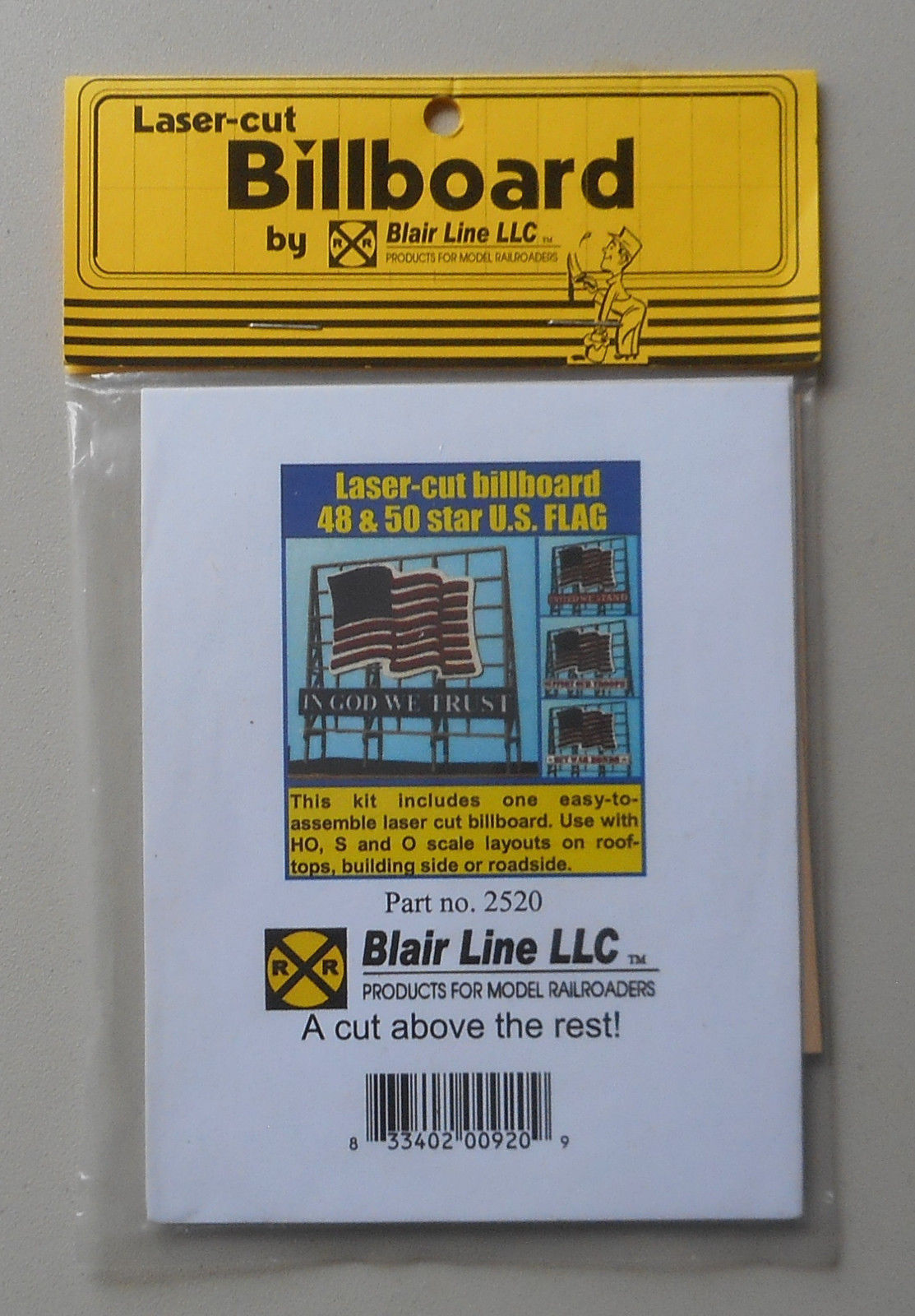 US Flag Billboard Kit HO O S Multi SCALE TRAIN LAYOUT DIORAMA BLAIR LINE  2520