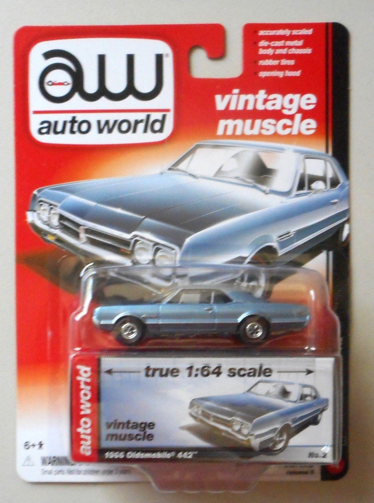 1966 Oldsmobile 442 Lucerne Blue AUTO WORLD DIE-CAST 1:64 CAR w BOX ...