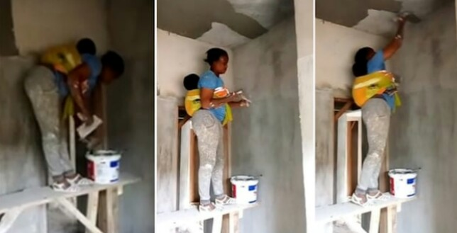 Mother inspires people, carries out paintwork as she backs her baby