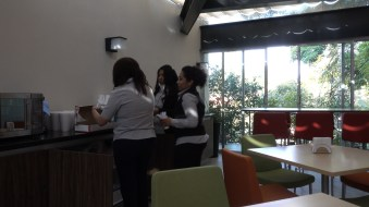 Breakfast preparations in the cafeteria