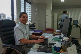 Metrohm Japan President Miki Takeuchi shares an office with his sales, marketing, and administration staff.