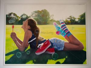 'Sock it to sarcoma' Oil on canvas - 2013 36x36 inch framed Donation to the Youth and Adolescent Cancer Center Hollywood Hospital