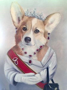 Elizabeth, Queen of the Corgi's oil painting by Mia Laing