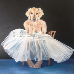 Marilyn, Our beautiful Golden Girl. Oil on canvas by Mia Laing
