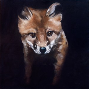 Fox cub oil painting by Australian artist mia Laing