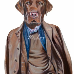 chocolate labrador dog, dressed as human, oilpainting by australian artist Mia Laing