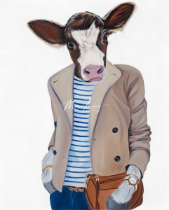 cow dressed as human by artist mia laing
