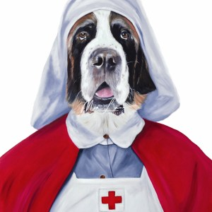 St Bernard dog dressed as a WW1 Nurse by Australian artist, Mia Laing