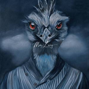 Emu dressed as human, oil painting, Mia Laing
