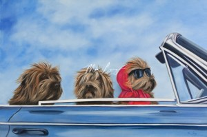 dogs in car oil painting, mia Laing