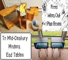 Refinished Endtables with Hairpin Legs
