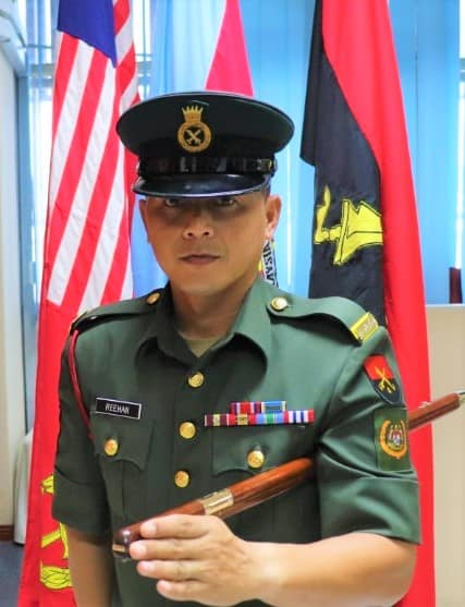 First RSM of Malaysia Army 5 Div, Warrant Officer I (PW I) Reehan Ahmad.
