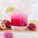close up photo of a pink prickly pear margarita
