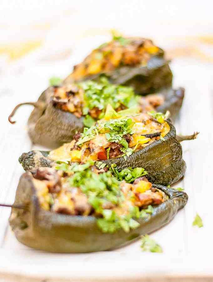 Southwest Stuffed Poblano Peppers with Melty Cheddar Cheese