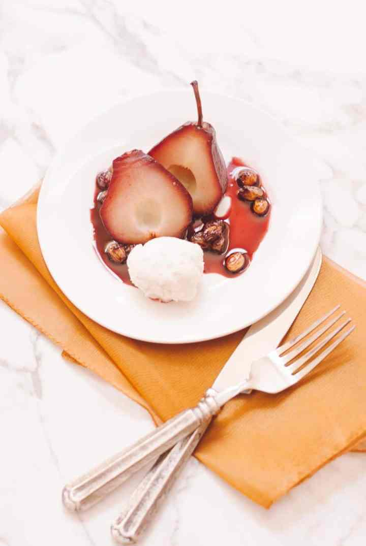 Port Poached Pears with Holiday Spices