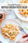 two plates of buffalo chicken pasta salad with ingredients next to it