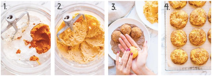 Process shot collage of pumpkin snickerdoodles