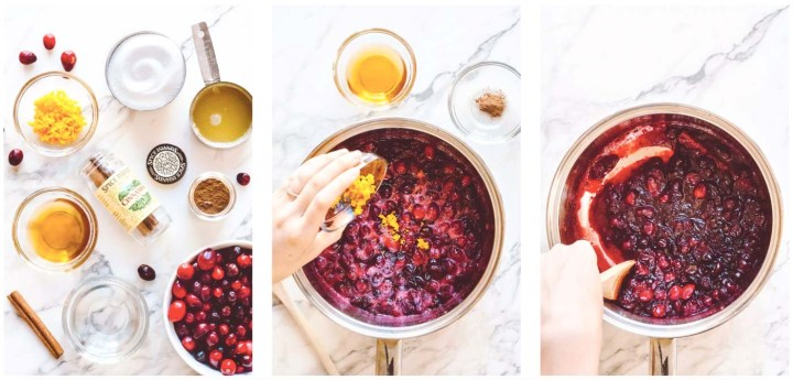 Photo collage of how to make cranberry sauce with grand marnier