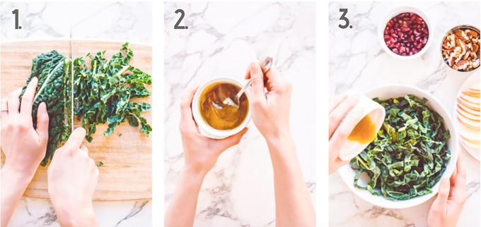 Side by side photo instructions of how to put together a winter kale salad with an apple butter vinaigrette dressing.