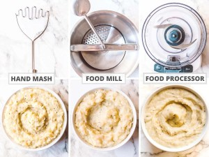 Overhead image of the three tools you could use to create a parsnip mash and what each method looks like