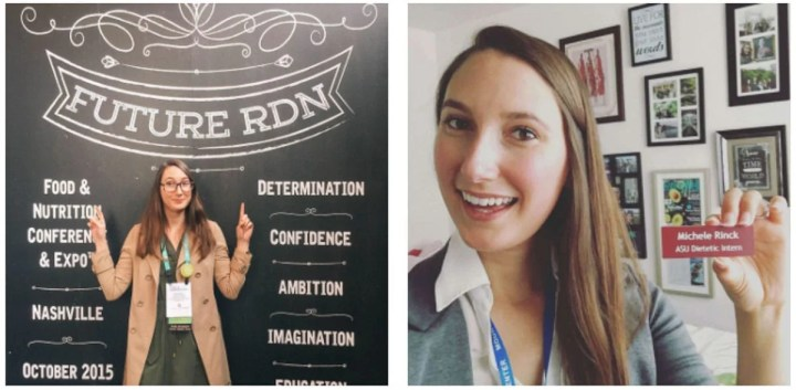 Two image collage, the left image of a girl in a brown jacket standing next to a black wall with the words 'future RDN' and the image on the right is a girl holding a name tag that states she is an ASU dietetic intern.