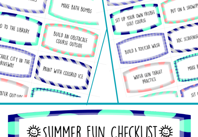 Printable Summer Fun Coupons and Checklist