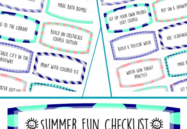 Printable Summer Fun Coupons and Checklist