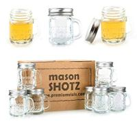 Premium Vials - Mini Mason Jar Shot Glasses with Handles (Set of 8)
