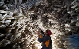 Sharp crystals line the interior of Mexico's Cave of the Crystals