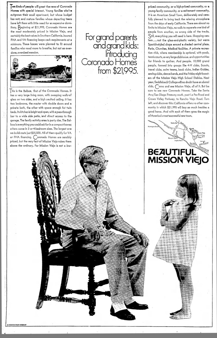 Large Ad for Coronado Homes Mission Viejo 1970