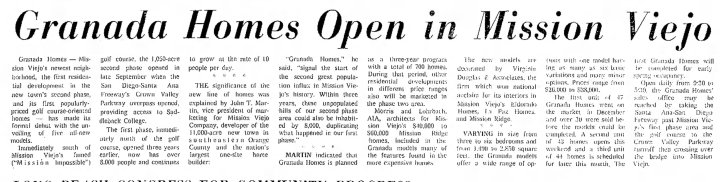 Granada Homes in Mission Viejo Grand Opening 1969
