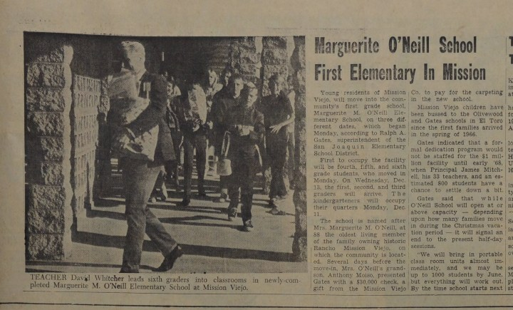 Marguerite O'Neill School opens in Mission Viejo 1967