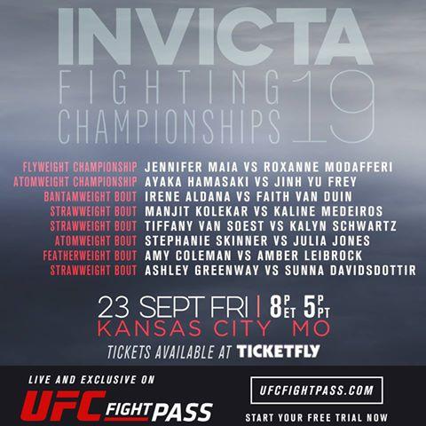 Invicta FC 19 Fight Card