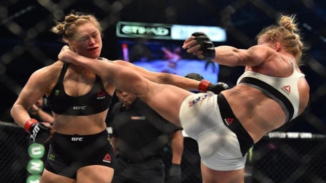 Ronda Rousey knocked out by Holly Holm one year ago today, November 14