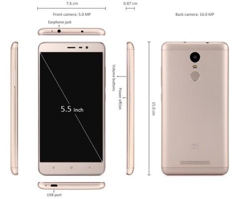 XIAOMI Redmi Note 3 Pro サイズの説明