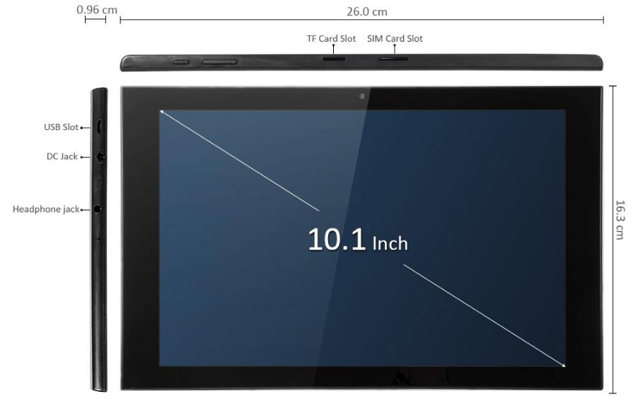Teclast X10 3G Phablet サイズ感説明