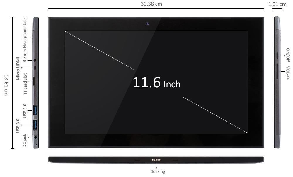 Teclast X3 Pro 2 in 1 Ultrabook Tablet PCレビュー 外部コネクトの参考画像