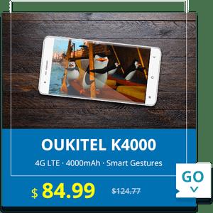 5.0 inch OUKITEL K4000 Android 5.1 4G Smartphone MTK6735 64bit Quad Core 16GB ROM 13.0MP Rear Camera 2.5D Arc Screen  -  BLACK