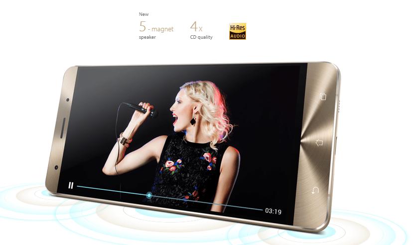 ASUS Zenfone 3 Deluxe ZS570KL 4G Phabletスペック参考画像 ハイレゾ対応、そして、5マグネットの高品質スピーカー搭載