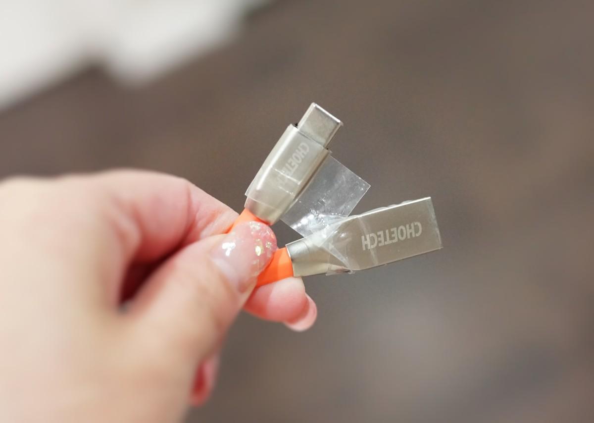 CHOETECH 56kΩの抵抗 USB Type C ケーブル 【 2本セット 1.2M 】 レビュー コネクタ部分の説明参考画像