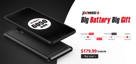 Ulefone Power 2 Android 7.0スマホが179.99ドルでプリセール中!【割引クーポン追加】