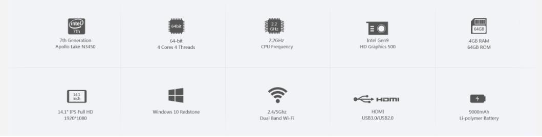 CHUWI Lapbook 14.1インチ システムの説明参考画像