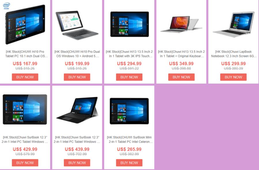 GeekBuyingでChuwi SurBook Mini が$265.99など格安のタブレットセール開催中