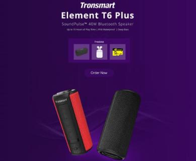 Tronsmart Element T6 Plus Bluetoothスピーカーが i10 TWS Earbudsとセットで$79.99などのセール開催中