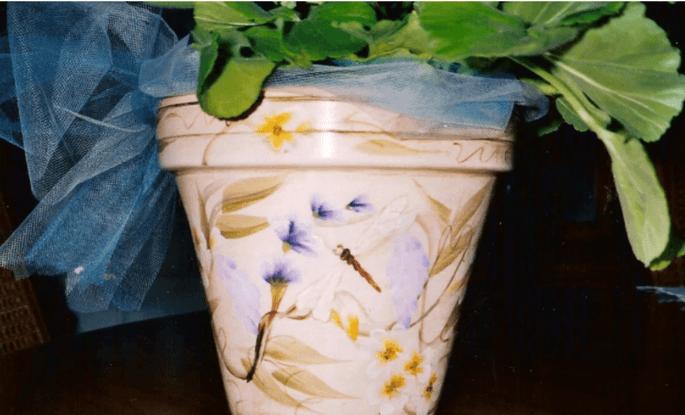 handpainted garden flower pot with dragonflies