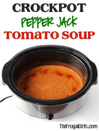 Crockpot Pepper Jack Tomato Soup | Homemade Tomato Soup Recipes