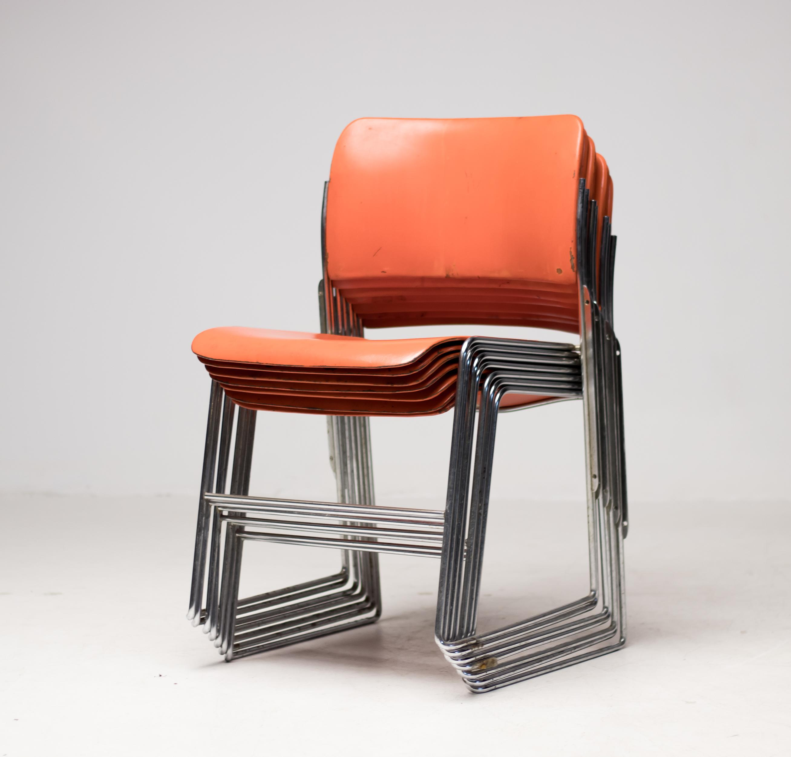 Seven Mid Century Modern Steel Stackable Dining Chairs 40 4 By David Rowland