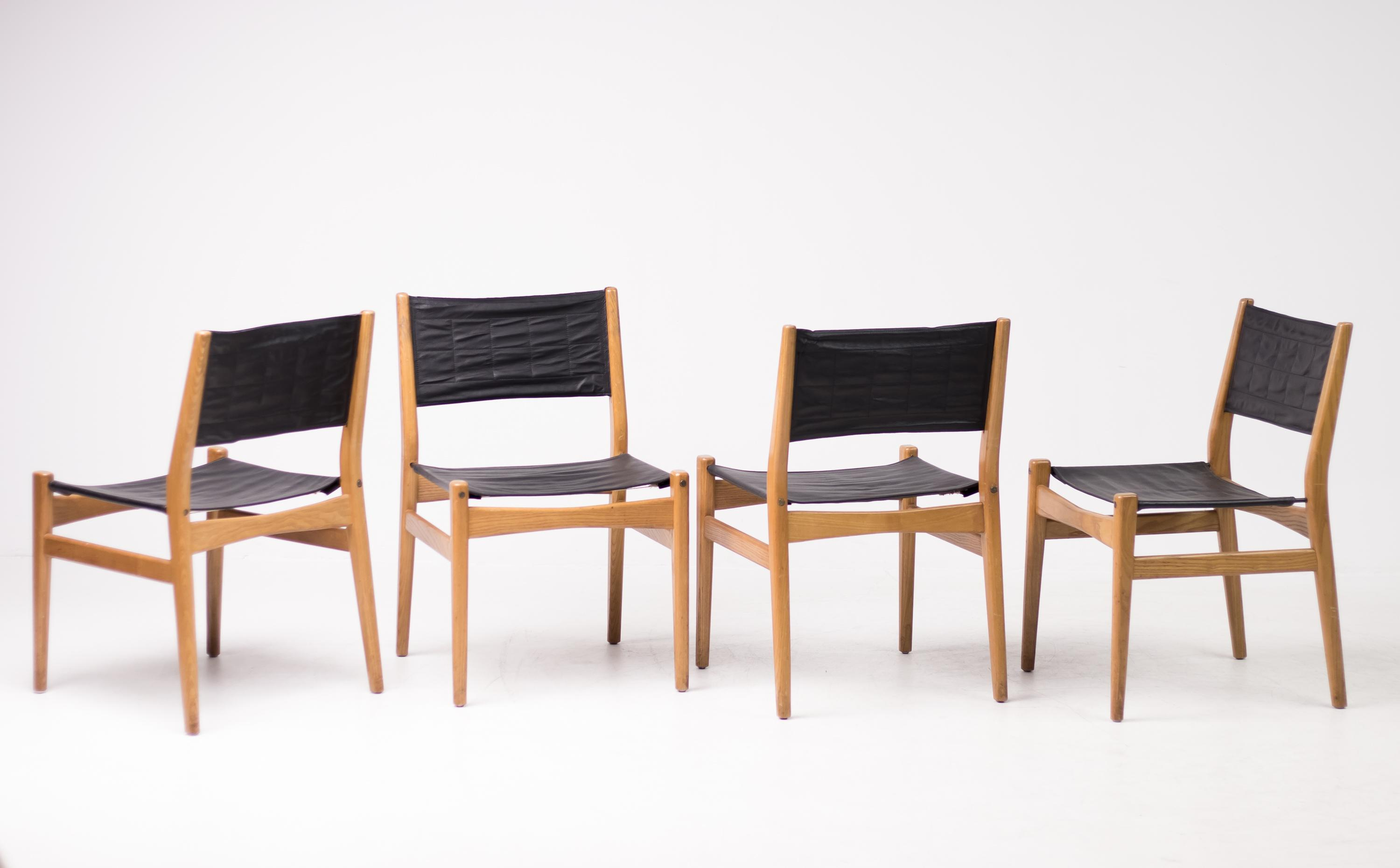 Set Of Four Scandinavian Leather Sling Seat Dining Chairs