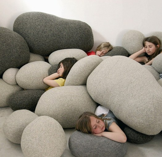 nature-inspired furniture pebble pillows cushions