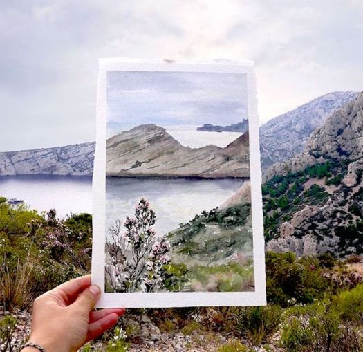 paintings merged with photographs art photography painting travel